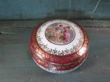 Antica SCATOLA Bonbonniere Porcellana Limoges francia scena galante angelo putti