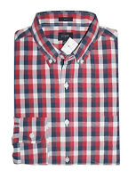 J Crew Factory - Men's L - Slim Fit - Red/Navy Gingham Washed Cotton Shirt