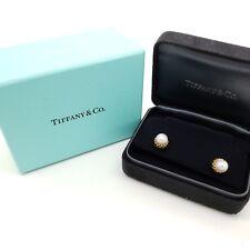 Tiffany & Co. 18k 750 Yellow Gold Schlumberger Acorn 7'mm Pearl Stud Earrings