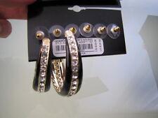 Bebe earrings hanging chandelier stud hoops gold 3 pairs 202907