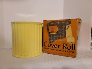 VINTAGE TOILET PAPER ROLL COVER HOLDER 1950s PALE YELLOW PLASTIC NEW OLD STOCK