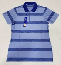 NEW Antigua Women's 1/4 Zip Equity Desert Dry Golf Polo Blue Striped Size Medium