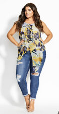CITY CHIC - NEW - Sol Floral Top Size XS/14/Plus Size/Relaxed Fit/Slimming/