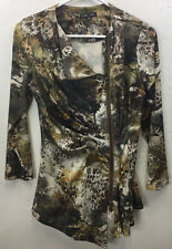 BOHO CHIC Floral Blouse Top Small Long Sleeve Zip-Front Multi Browns/ Greens