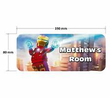 Lego Iron Man Door Plaque - Personalised Childrens Bedroom Sign Boys Girls