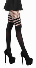 Black Fishnet 3 Stripe Over The Knee Opaque Tights - Pamela Mann - One Size