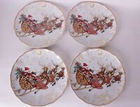 set/4 New Williams Sonoma Twas Night Before Christmas Santa Sleigh salad plates