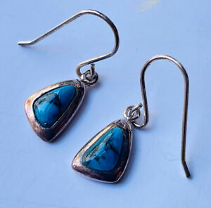 Silver and turquoise(?) earrings slightly tarnished