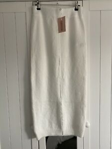New Missguided Tall Off White Knitted Skirt Size 6-8