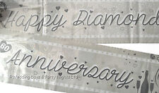 9ft Holographic Happy Diamond 60th Wedding Anniversary Party Banner Decoration
