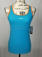 Zoot Womens Performance Triathlon Cycling Tank Top Small Mesh Pockets Blue Large
