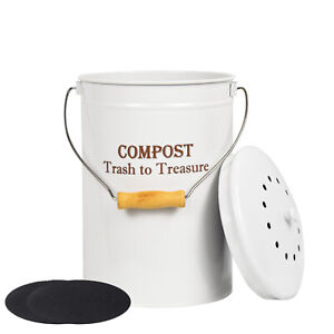 SQUEEZE master 1.3Gallon Stainless Steel Compost Bin with Lid for Kitchen Counte