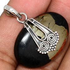 Owl - Pyrite In Megnetite 925 Sterling Silver Pendant Jewelry AP168651