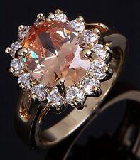 Bridal Size 7 Cute Womens 10K Gold Filled Round Cut Topaz Wedding Fashion Rings