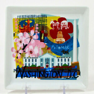 "Crate & Barrel ROAD TRIP - WASHINGTON D.C. 5.75"" Square Plate US City 547-223"