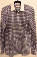 "Eton of Sweden Mens L 16.5""/42 Contemporary Plaid Long Sleeve Button Front Shirt"