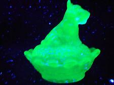 Cobalt vaseline glass scottie dog salt on nest basket uranium / scottish terrier