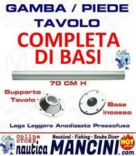 GAMBA TAVOLO COMPLETA DI BASI IN LEGA LEGGERA H.70cm PER BARCA CAMPER INCASSO