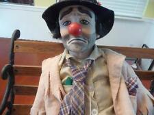 Vintage Emmett Kelly Weary Willie Clown Porcelain Doll W/ Bench Lot 15015