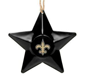 New Orleans Saints Christmas Tree Holiday Ornament - Team Logo Metal 3D Star