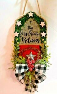 THIS FARMHOUSE BELIEVES - WALL HANGING - WINTER LOOK -    HOUSE SHAPE
