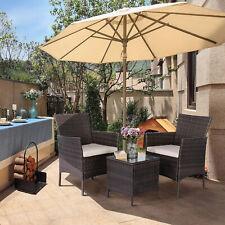 3 Pieces Conversation Sets Patio Furniture Set PE Rattan Wicker Chairs Renewed