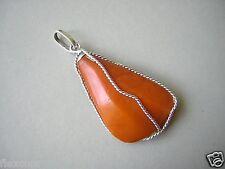 Alter Egg Yolk Natur Bernstein Anhänger echt Silber Amber 7,5 g/5,9x2,6x1,0 cm