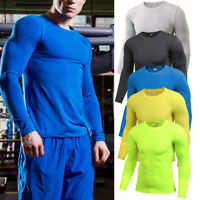Men's Workout Compression Shirt Jersey Running Training Gym Plain Shirts Dry fit
