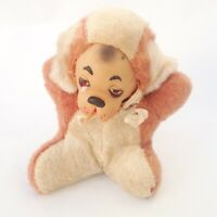 Vtg Rubber Face Dog Squeak Toy Stuffed Animal Brown Fur Plush Sad Tear 50s 60s