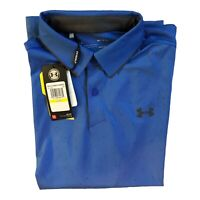 Under Armour Golf Loose Fit Heat Gear Men's Short Sleeve Polo Size Medium Blue