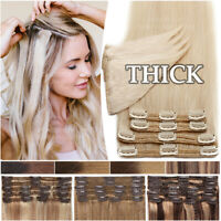 REAL THICK Double Weft Clip In Remy Human Hair Extensions Full Head Blonde Ombre