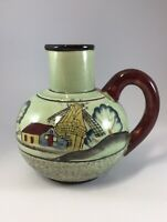 Vintage Unique Handpainted Green Pitcher Windmill