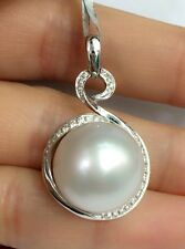 Huge 15mm Natural White South Sea Pearl Diamond Pendant, 18k Solid Gold. $4900.