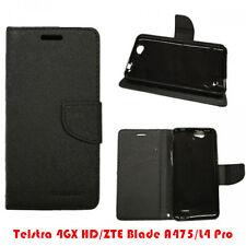 Telstra 4GX HD/ZTE Blade A475/L4 Pro TPU In PU Black Wallet Stand Case Cover +TP