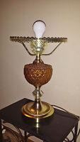 Vintage Retro Amber Glass Table Lamp Mid-century Gorgeous