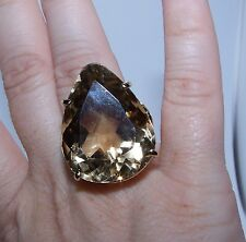 14k Yellow Gold, 12.5 Carat, Pear-Shaped Smoky Quartz Ring  <81>