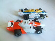 2- tyco slot cars indy cars # 5 canon & #2 tyco 440x2 chassis fast nice!!
