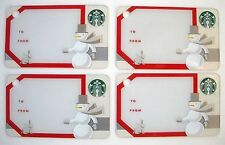 Starbucks Snowman Gift Cards Mini Key Chain Lot 4 2011 No Value Hard To Find
