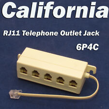 RJ11 Jack 5 Way Outlet Telephone Phone Modular Line Splitter Plug Adapter 6P4C
