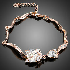 Cute Sparkly Shiny Clear White Austria Crystal Rose Gold Plated Fox Cat Bracelet