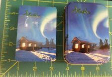 Alaska Playing Cards in Tin Case - Cabin scene with Northern Lights - Aurora
