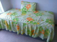Hand made Valance Quilted Comfy Bedspread with cushion, Single Size.