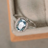 Oval Cut Aquamarine Gemstone Natural 2.3 Ct Diamond Ring 14K White Gold Band