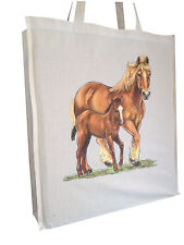 Golden Horse Equestrian Cotton Shopping Bag Gusset & Long Handles Perfect Gift