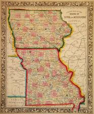 1860 Genuine Antique Map of Iowa & Missouri. A Mitchell