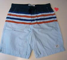 Lucky Brand Mn's Sz 31 Printed Beach Short Navy/Orange/Lt Blue Stripe $69.50 NWT