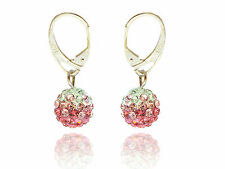 Shamballa Disco Balls Rose, Light Pink & White Fusion Drop Earrings E430