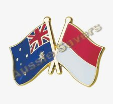 AUSTRALIAN / INDONESIA  FLAG HAT PIN / BADGE - ENAMEL FRIENDSHIP BADGE