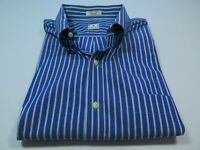 Peter Millar Men's Long Sleeve Cotton Blue Purple Striped Casual Shirt XL EUC
