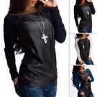 Damen Langarm Bluse Top Pullover Freizeit Leder Pulli Sweatshirt Oberteile Shirt